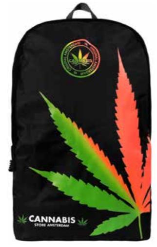 Zaino nero foglia Multicolor grande