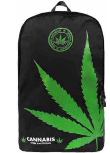 Zaino nero foglia Verde grande