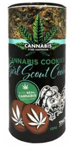 Cannabis cookie THCA Girl scout cookie tube