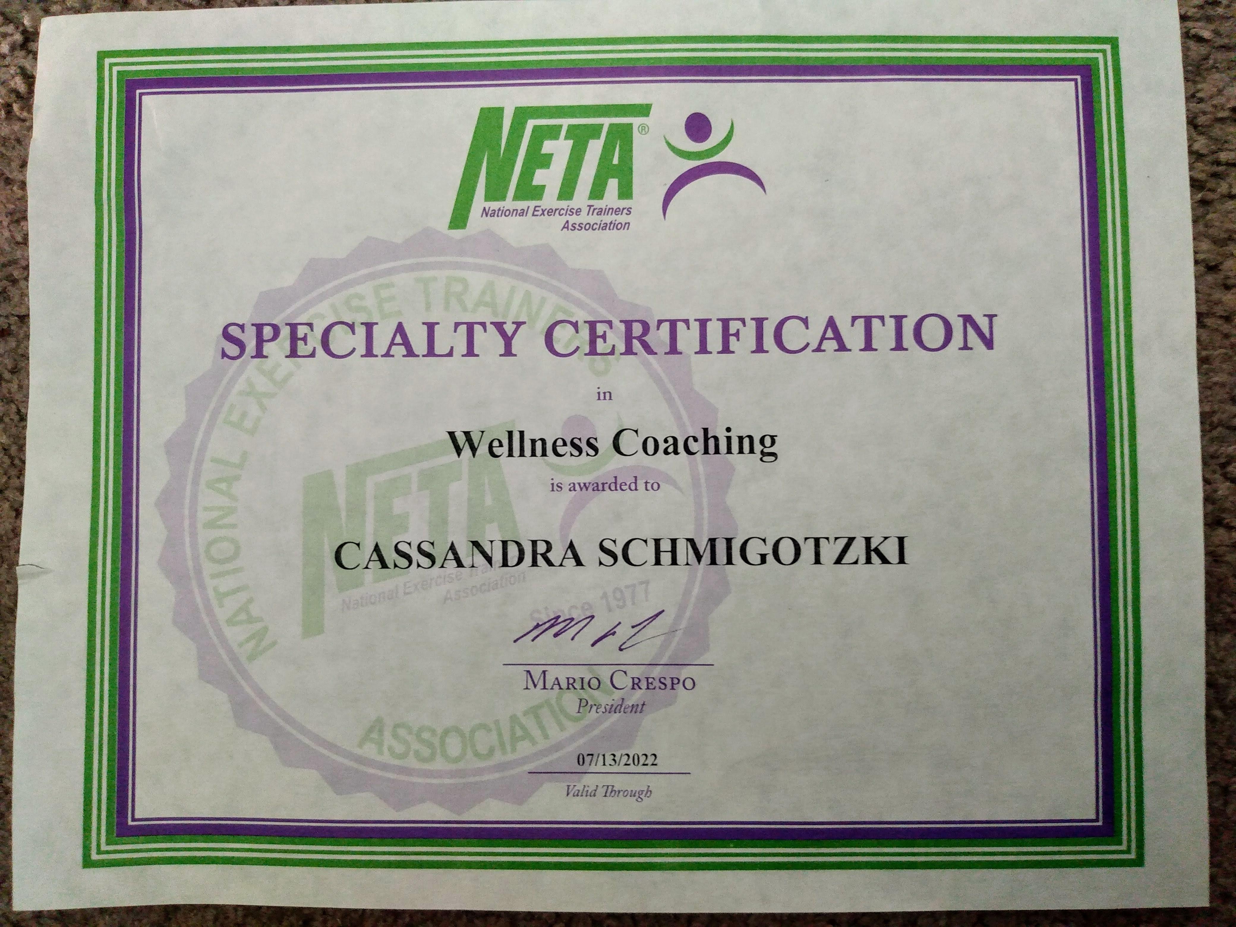 NETA Wellness Coaching Certification