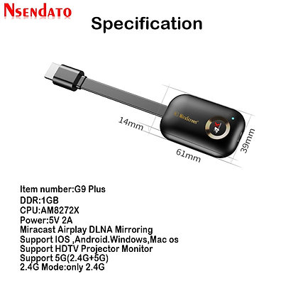Mirascreen G9 Plus 2.4g/5g 4K Wifi for DLNA AirPlay HD