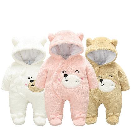 Roupas para bebês recém-nascidos de inverno com capuz macacão de flanela3m-12m