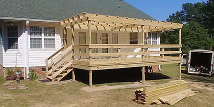 Elevated wood deck, with pergola topper.