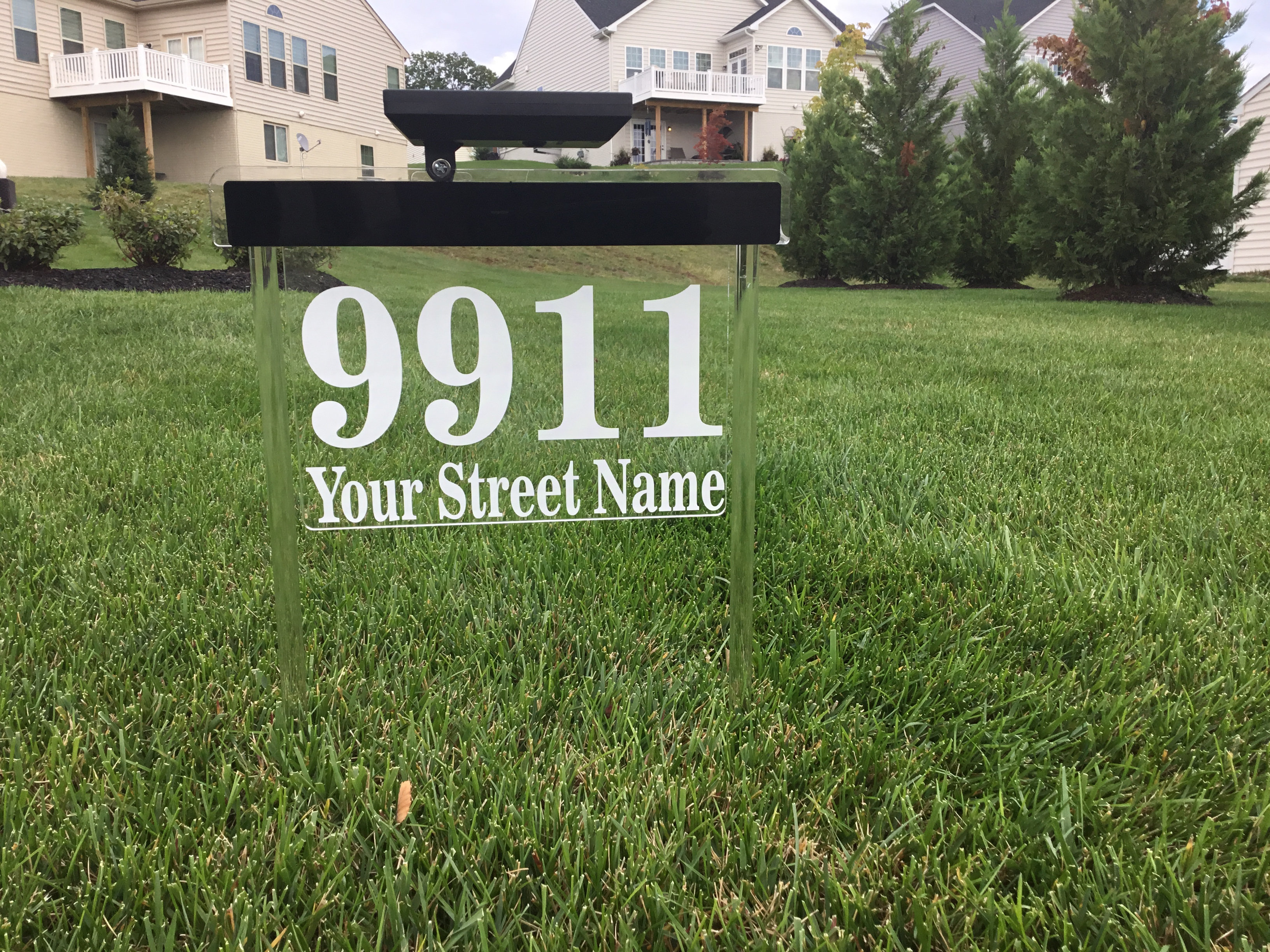 Custom Solar House Number Sign Small 13 5 Inch Wide Blue