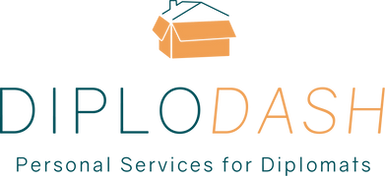 Diplodash logo; illustrated moving box with outlined house roof on top. Diplodash, Personal Services for Diplomats in blue and orange text on white background.