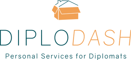 Diplodash logo; orange box with dark blue green roof on op. Diplodash in dark blue/green and orange. Personal Services for Diplomats in dark blue/green.