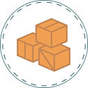 Illustrated image of orange moving boxes in white circle with dotted border.
