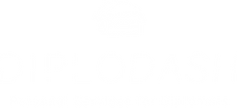 Diplodash logo, white box with roof on top. Diplodash text in white, Personal Services of Diplomats in white.
