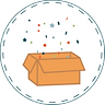 Illustrated image of orange open moving box with multicolored confetti popping out in white circle with dotted border.