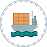 Illustrated image of teal ship on water with orange shipping containers in white circle with dotted border.