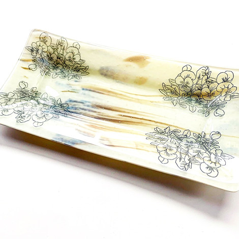 Pansies on Rectangle Tray, 2020