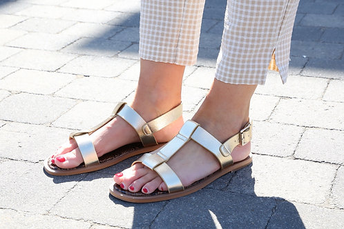 VW Sandals Flat Gold