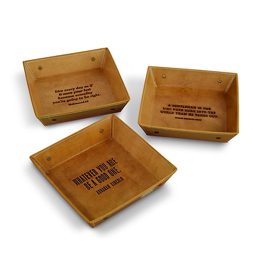 Men's Genuine Leather Desk Tray w/ Assorted Quotes