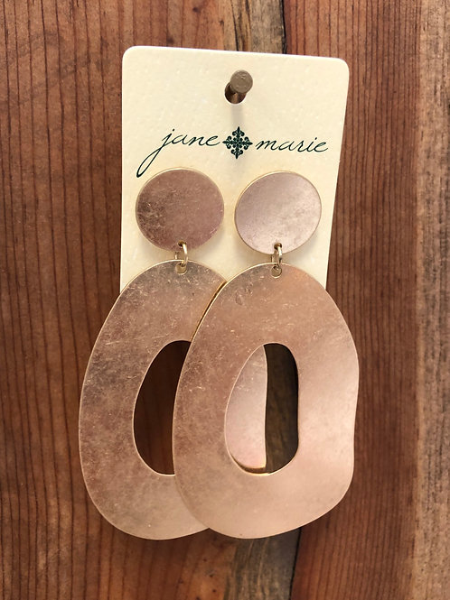 Matte Gold Abstract Circle/Dot Dangle Earring