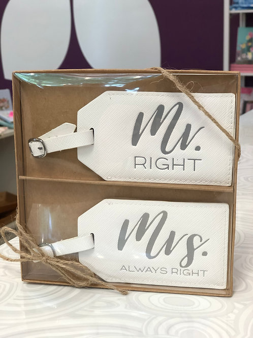 Mr & Mrs Luggage Tags Set - White