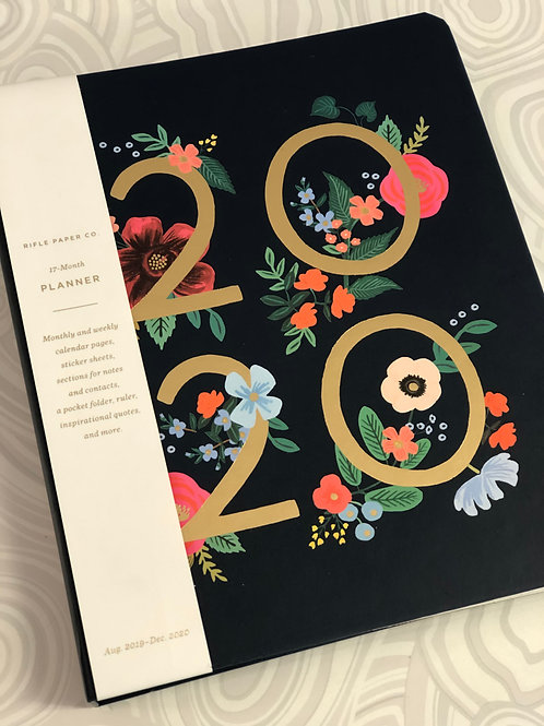 Rifle Paper Co. Black Floral 2020 17 month planner
