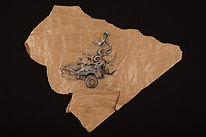 automobile destroyed by missile strike, formal relation with the folded/crumpled newspapers of the late 70s and early 80s