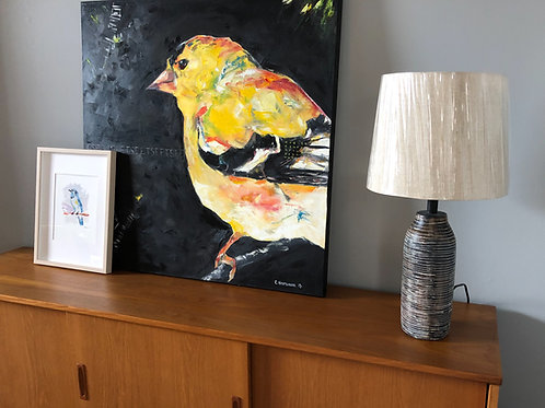 Yellow Finch on Black, 36 x 36