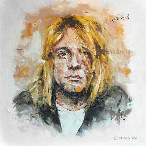 Kurt Cobain Print. 16 x 16