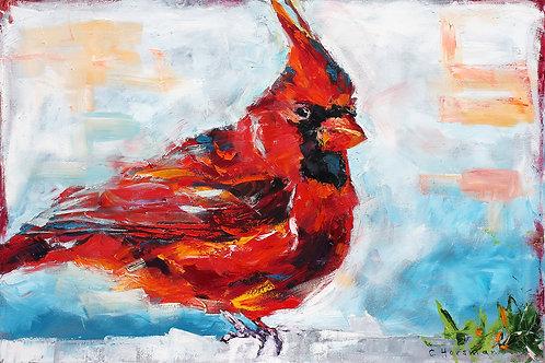 Red Cardinal Visit 36 x 24