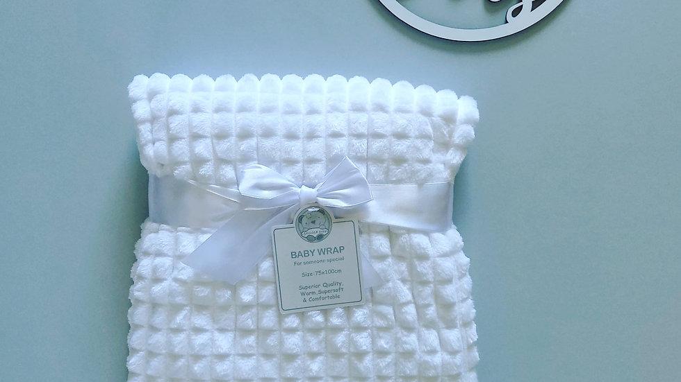 Super Soft White Waffle Blanket