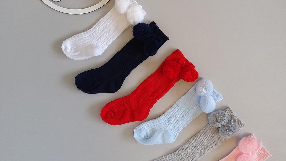 Knee High Pom Pom Socks