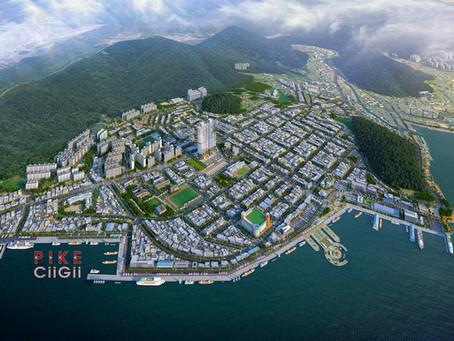 여수 밤바다 국동 아름다운 공동주택 광역조감도 제작사례
