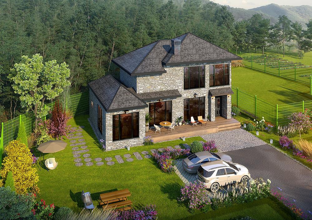 파이크CiiGii | 건축조감도 가격 광역조감도제작 | 상업시설 타운하우스 건축조감도제작업체