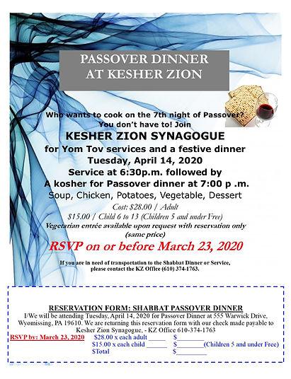 Passover KZ Shabbat Dinner Flyer KZ 2020