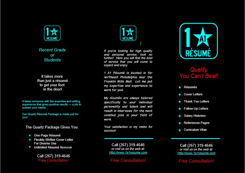 1A1 Resume Brochure Front