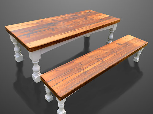 Harvest Table with Turned Leg Base (bench add-on available)