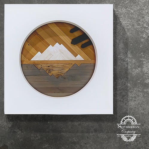 "Reclaimed Wood Mountain Art 36*36 ""Vigilance"""