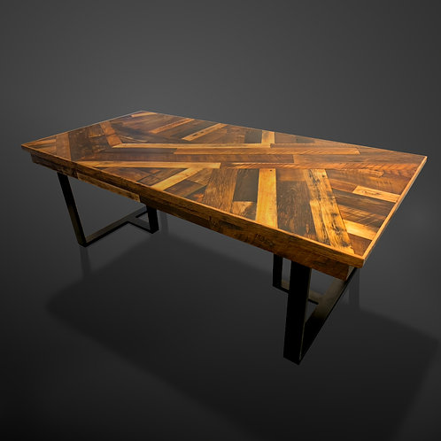 Scissor -Tail Dining Table in Wall Planks with Metal Base