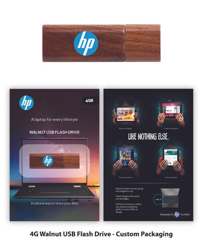 HP Walnut Flash Drive custom packaging.j