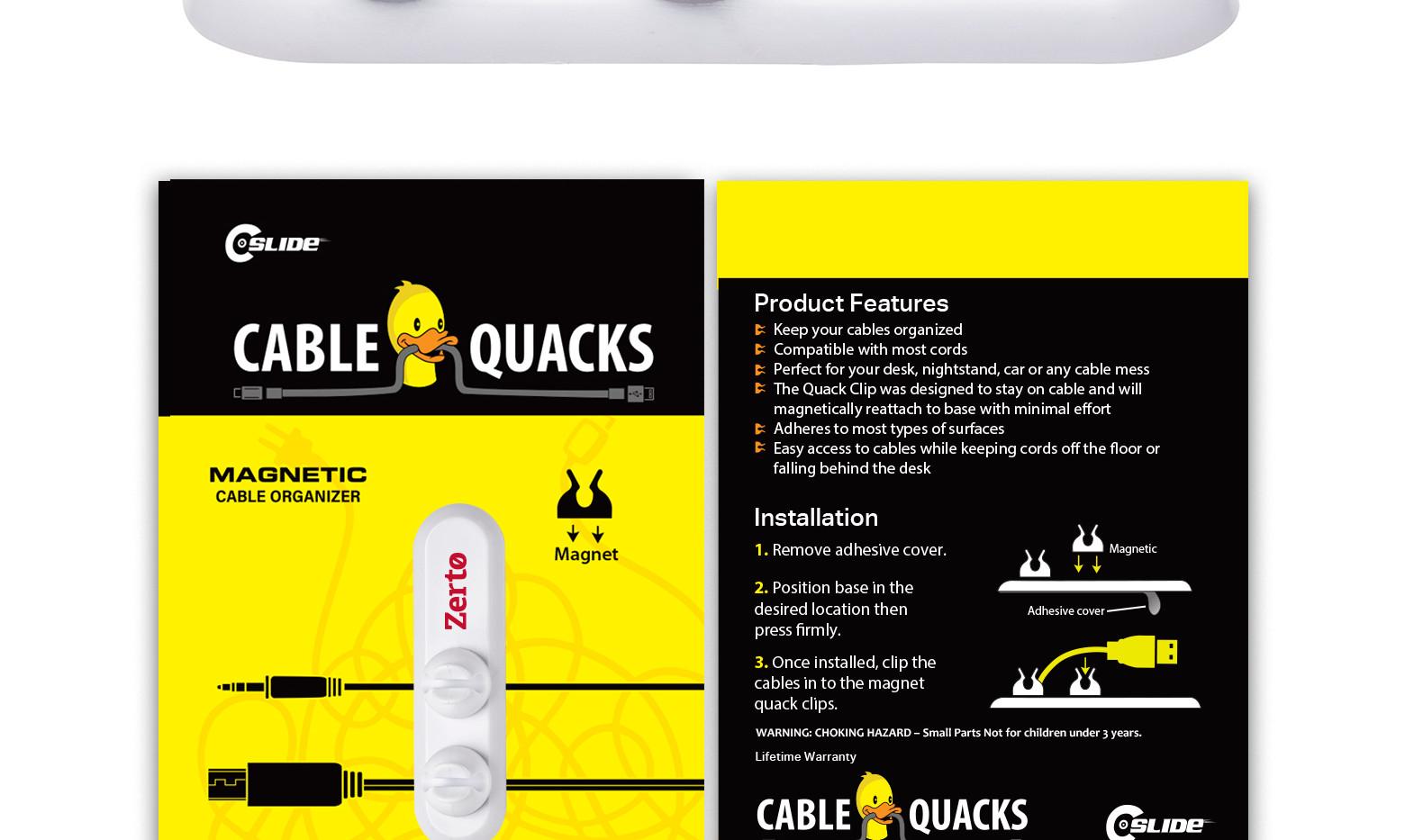 Cable quack 2 CLIP standard 4x6 WHITE.jp