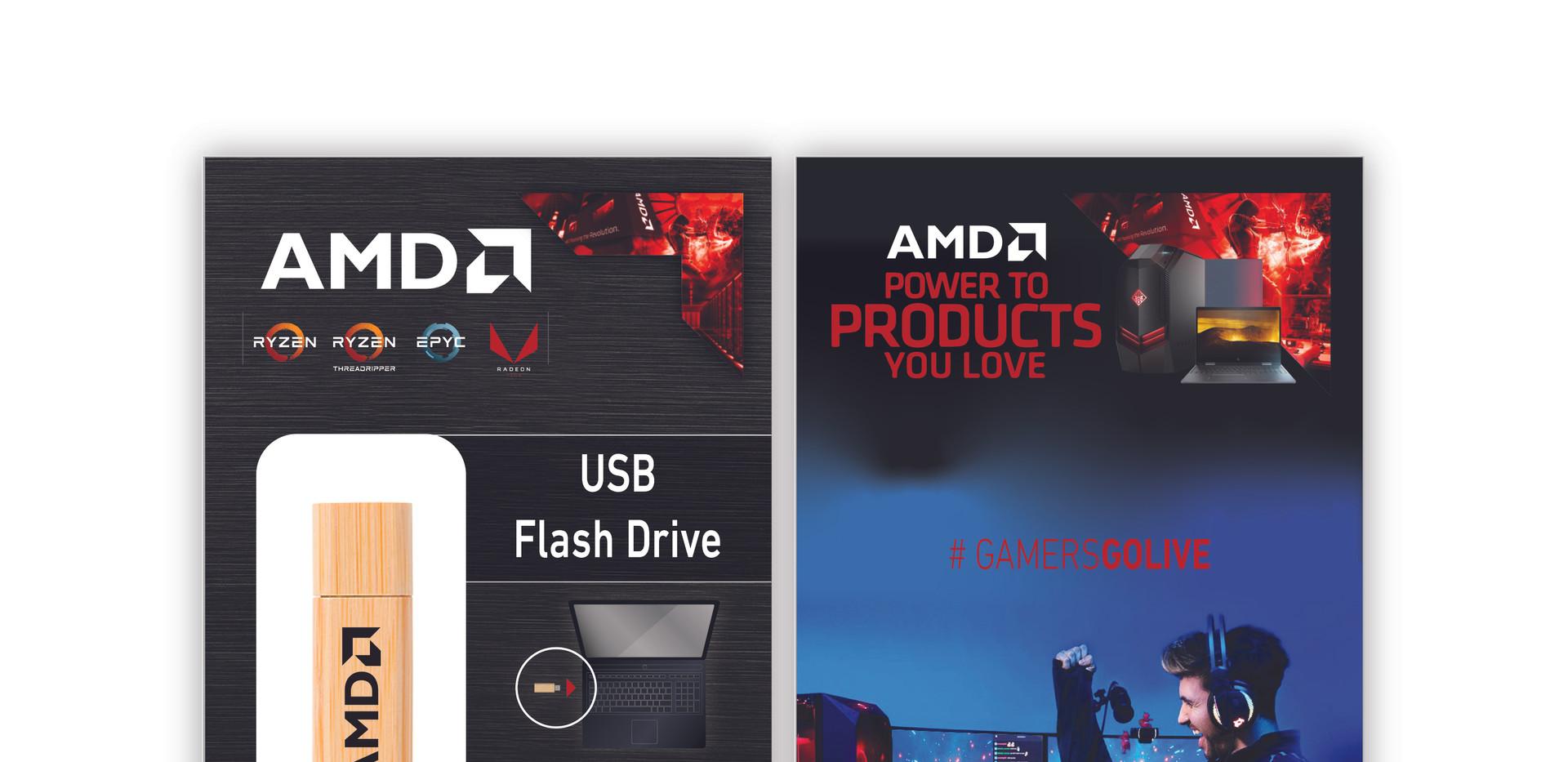AMD Bamboo Flash Drive Custom Packaging.