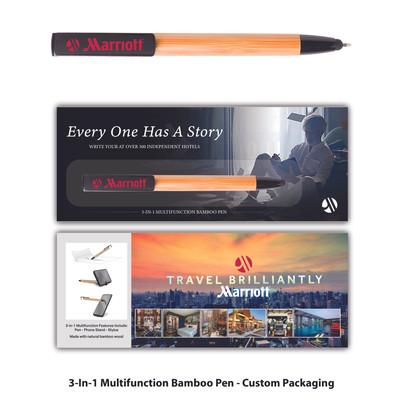 Marriott Bamboo Pen Phone Holder custom