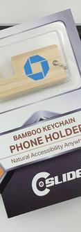 Chase bamboo thin key-chain phone stand