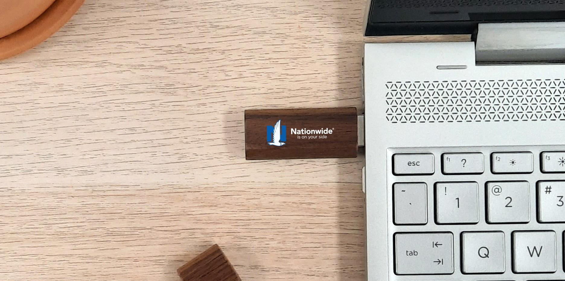 Nationwide walnut usb flash drive hero s