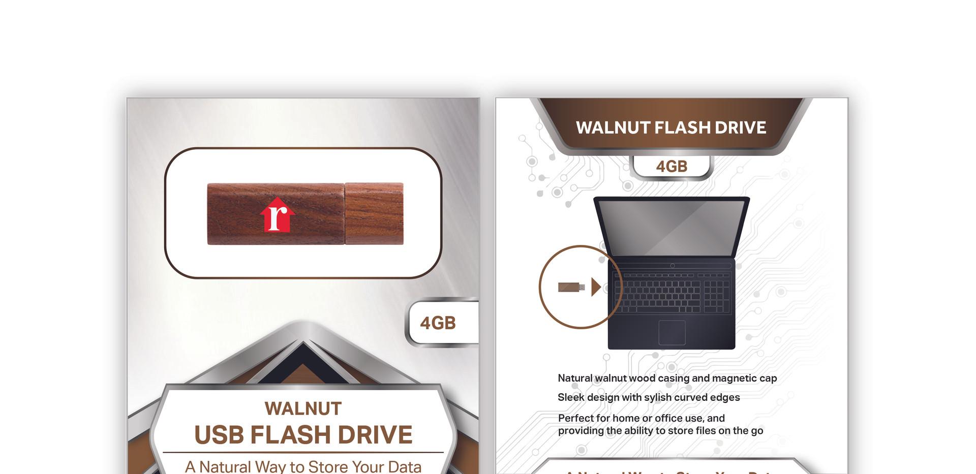 Realtor Walnut Flash Drive standard pack