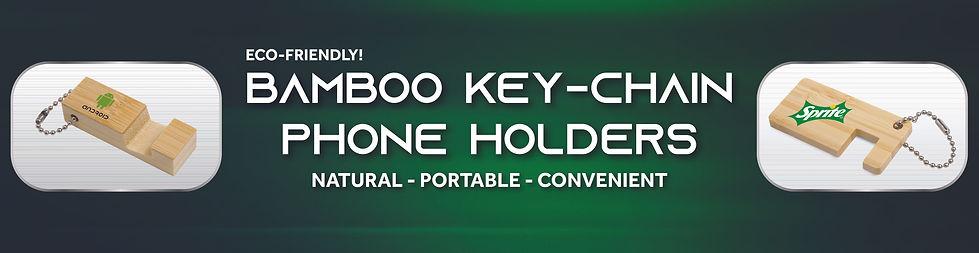 Bamboo Phone Stand Keychains sample bann