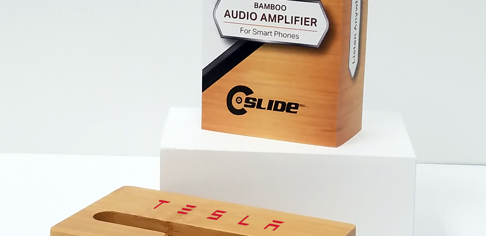 Tesla bamboo phone amplifier item+standa