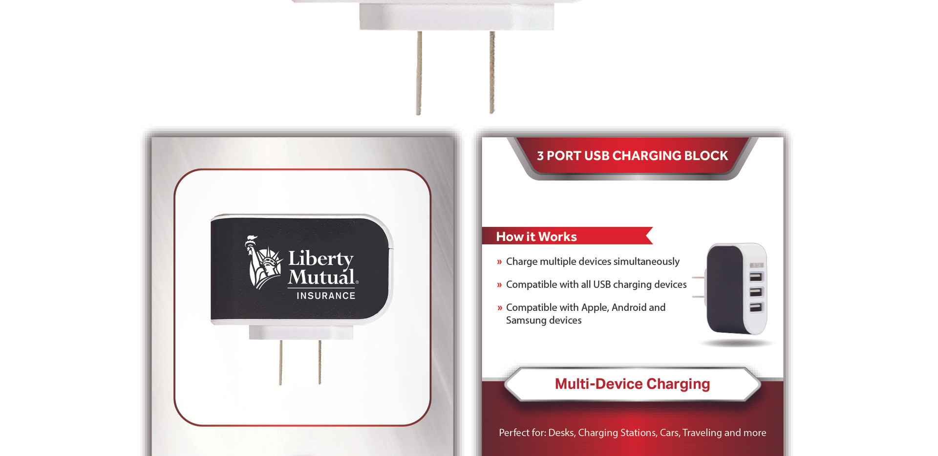 Liberty Mutual 3 Port Charging Block sta