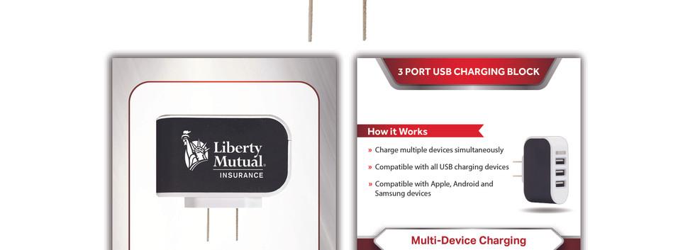 Liberty Mutual 3 Port Charging Block sta