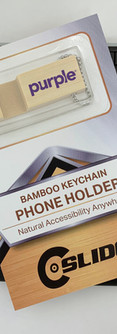 Purple bamboo block key-chain phone stan