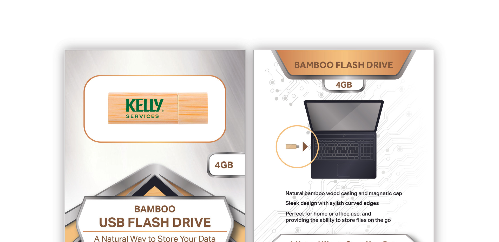Kelly Services Bamboo Flash Drive standa