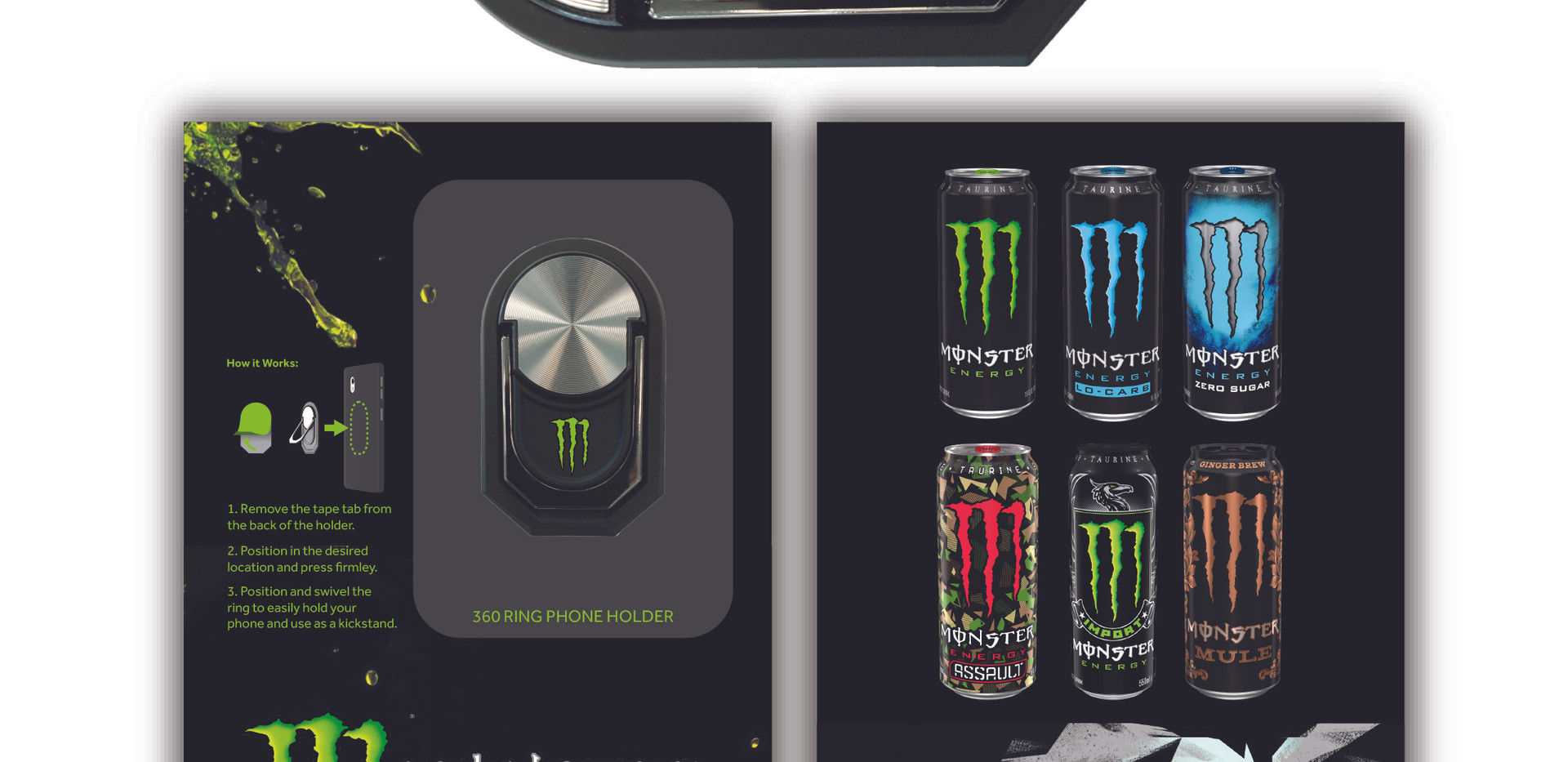 MonsterEnergy 360 Ring Phone Holder Cust