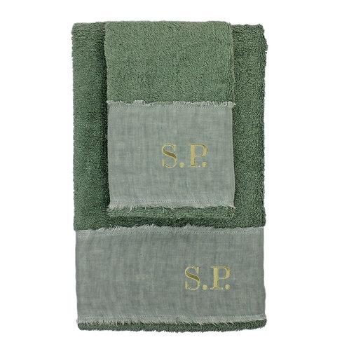 | Asciugamani con Iniziali Ricamate | Spugna Verde Bosco