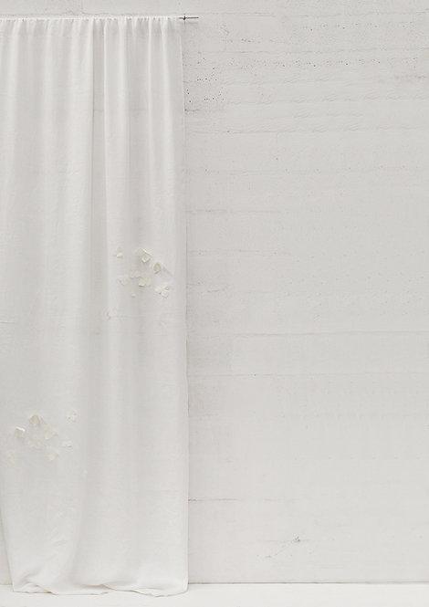 Tenda collezione ORTENSIA velo di lino bianco