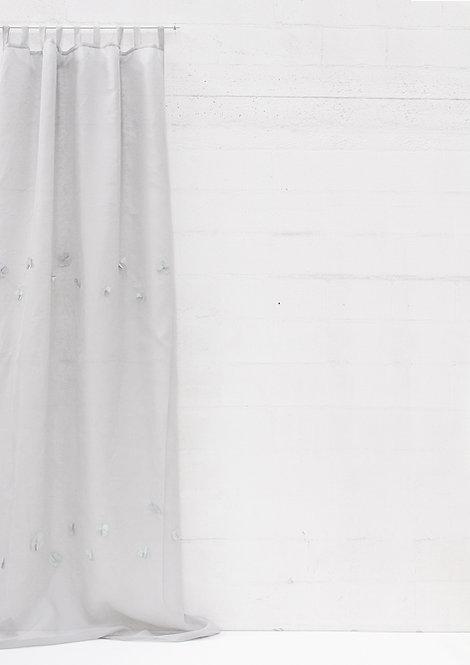 Tenda collezione FIORI DI LINO garza di lino grigia
